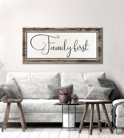 Family Decor Wall Art: Family First (Wood Frame Ready To Hang)
