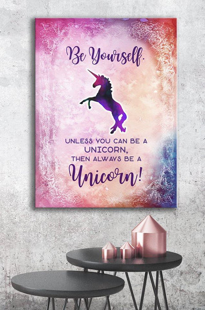 Home Wall Art: Be Yourself Unicorn (Wood Frame Ready To Hang)