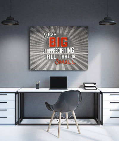 Home Wall Art: Live Big (Wood Frame Ready To Hang)