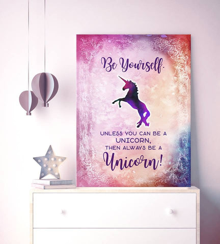 Home Decor Wall Art: Be Yourself Unicorn (Wood Frame Ready To Hang)