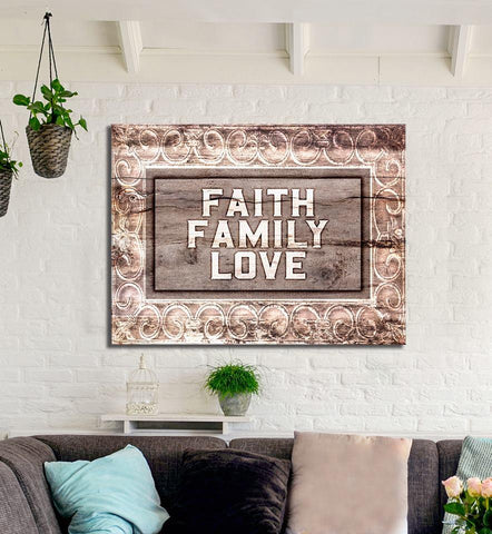Home Decor Wall Art: Faith Family Love (Wood Frame Ready To Hang)
