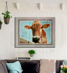 Farm Wall Art: Up-Close Cow (Wood Frame Ready To Hang)