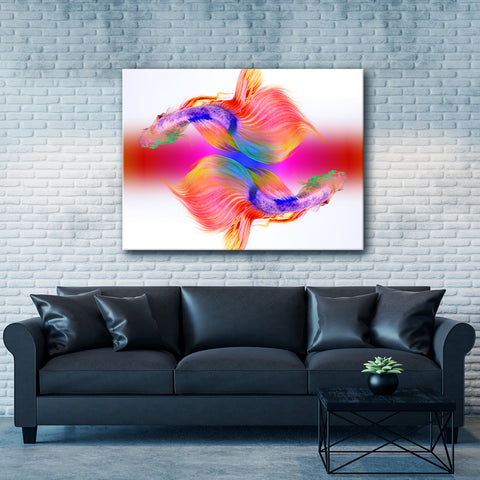 Animal Flare Wall Art:  2 Fishes (Wood Frame Ready To Hang)
