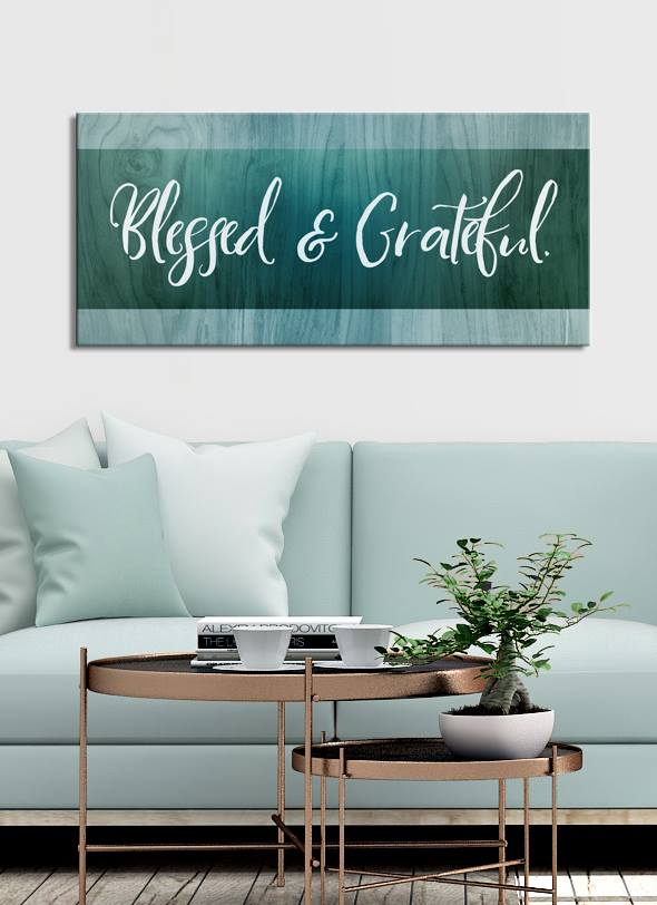 Christian Wall Art: Blessed & Grateful (Wood Frame Ready To Hang)