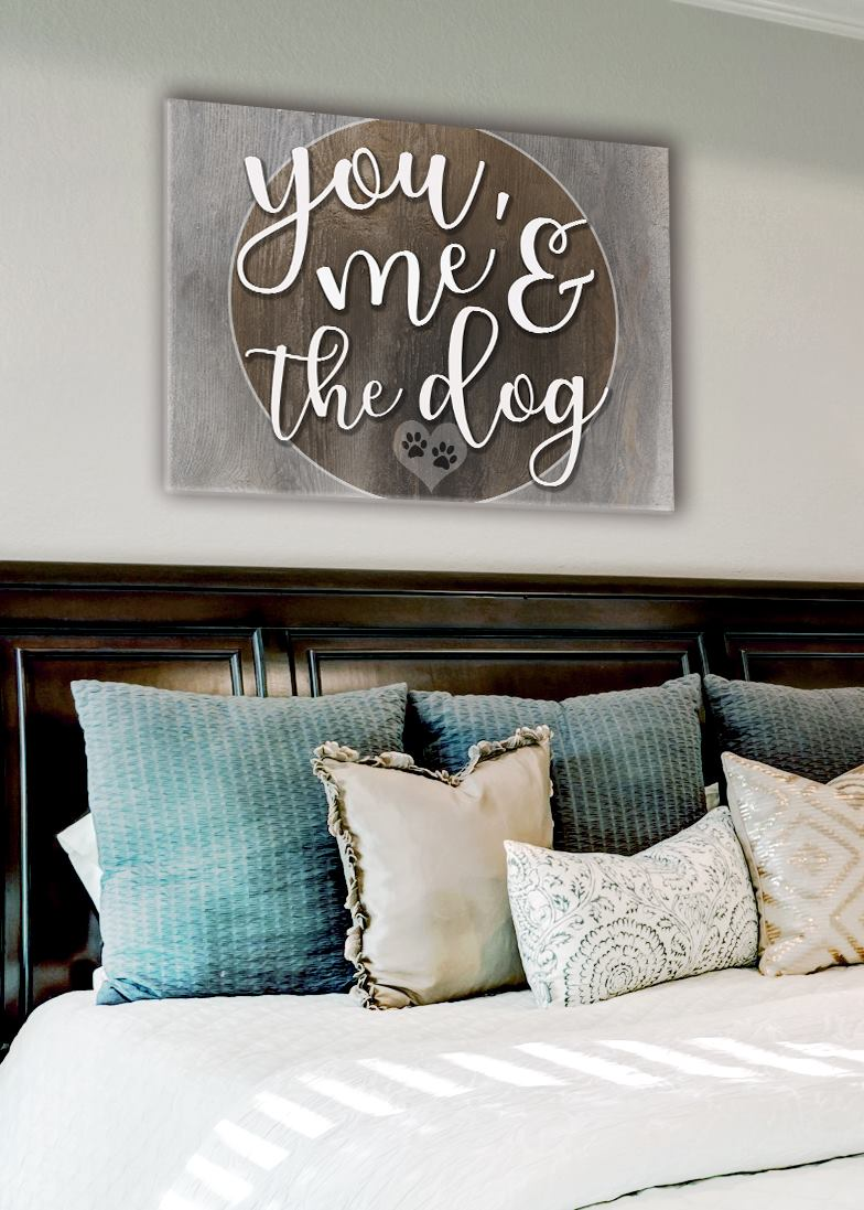 Pet Wall Art: You me and the Dog V3 (Wood Frame Ready To Hang)