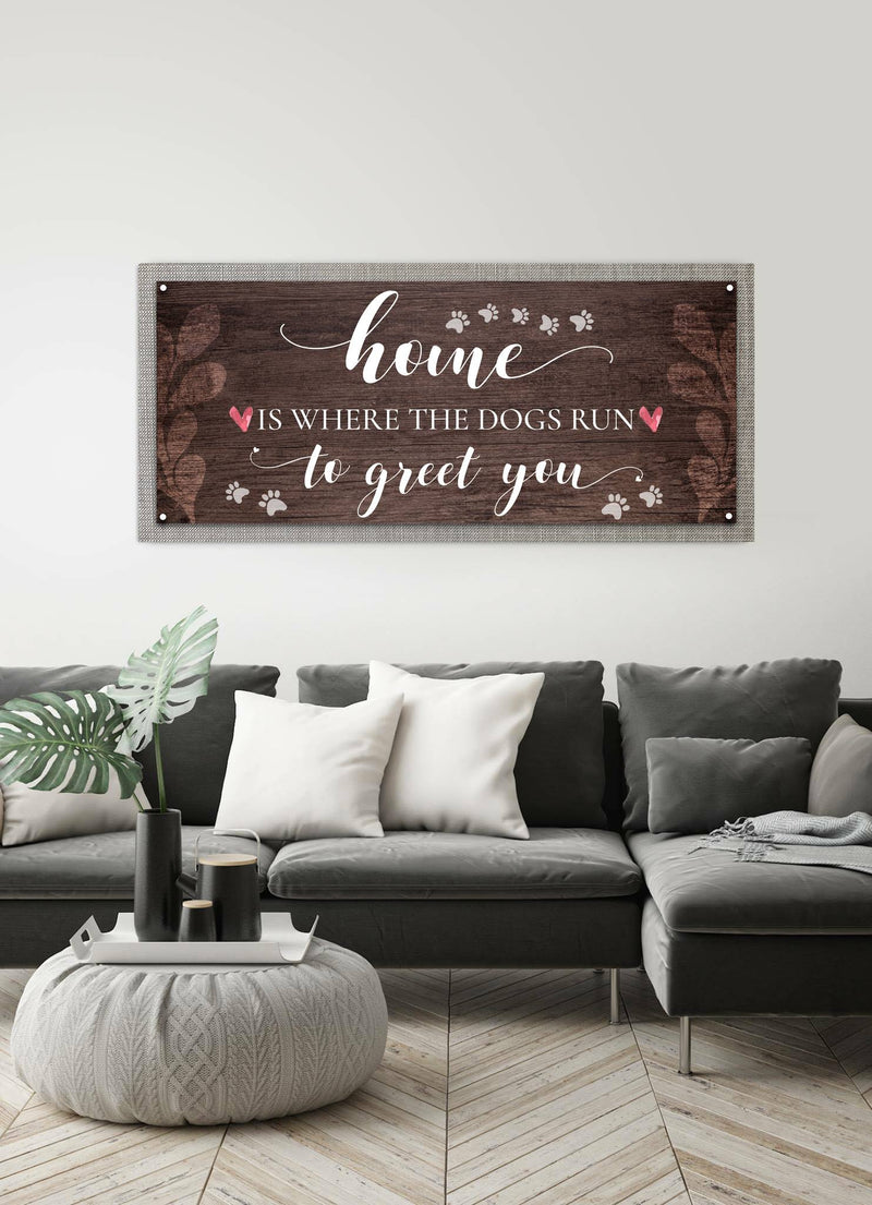 Pet Wall Art: Home Is Where The Dogs Runs (Wood Frame Ready To Hang)