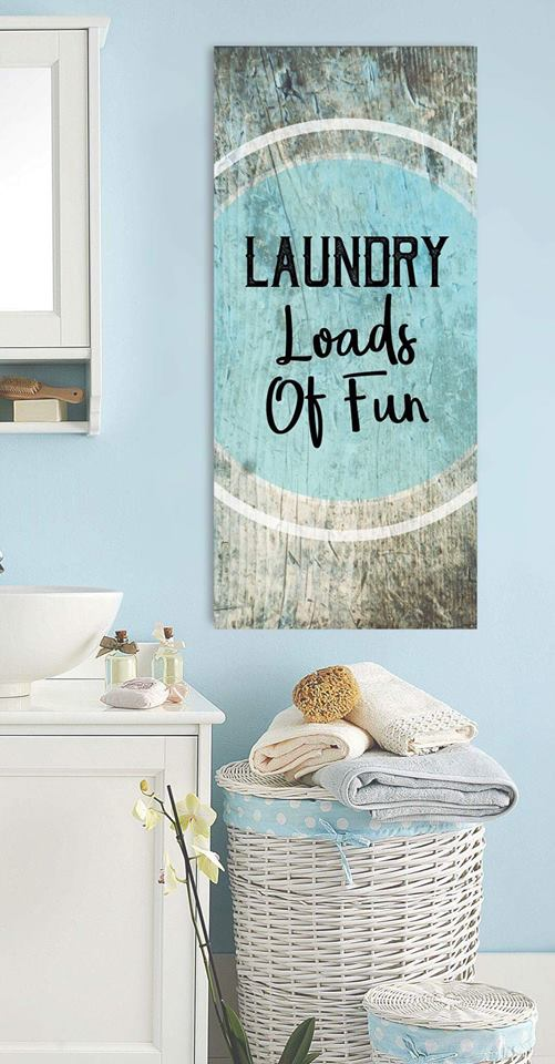 Laundry Room Wall Art: Laundry Loads Of Fun (Wood Frame Ready To Hang)