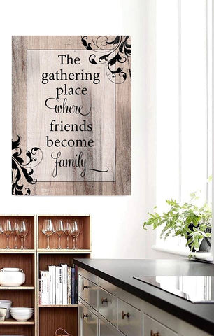 Home Decor Wall Art: Gathering Place Friends Become Family (Wood Frame Ready To Hang)