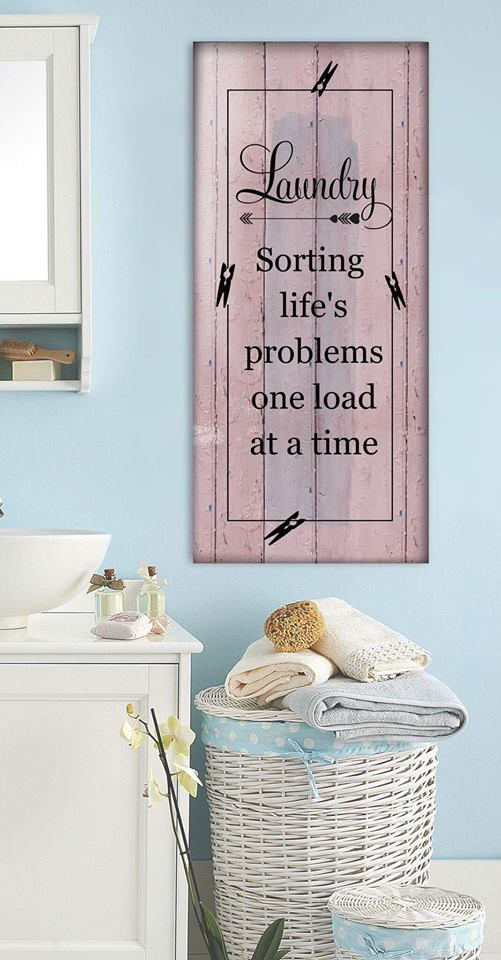 Laundry Room Wall Art: Sorting Life's Problem One Load At A Time  (Wood Frame Ready To Hang)