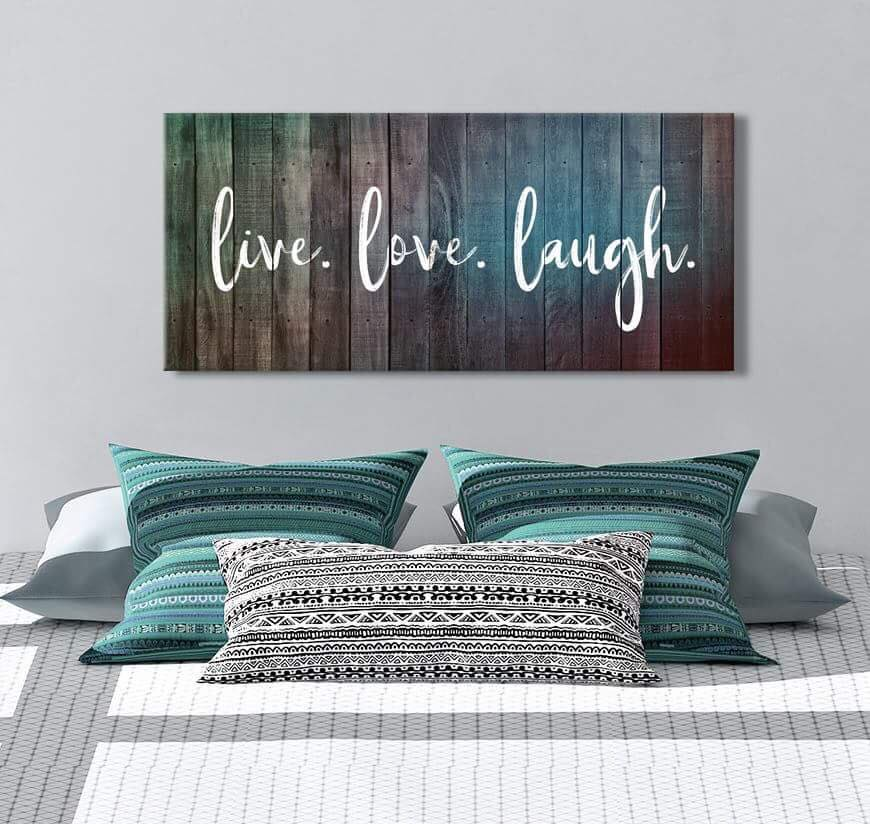Bedroom Wall Art: Live Love Laugh V2 (Wood Frame Ready To Hang)