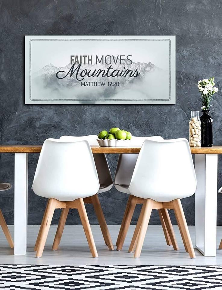 Christian Wall Art: Faith Moves Mountains (Wood Frame Ready To Hang)