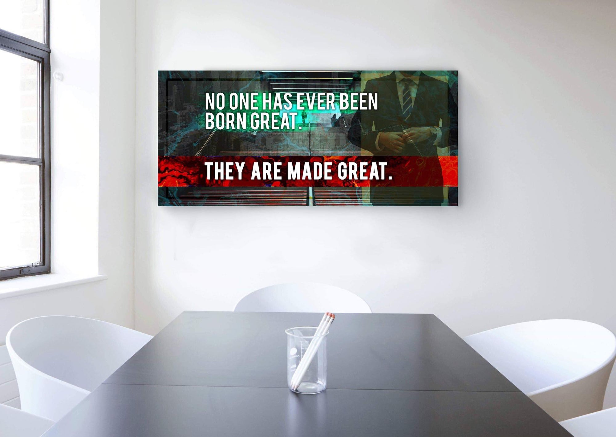 Inspire Wall Art: No One Has Ever Been Born Great (Wood Frame Ready To Hang)