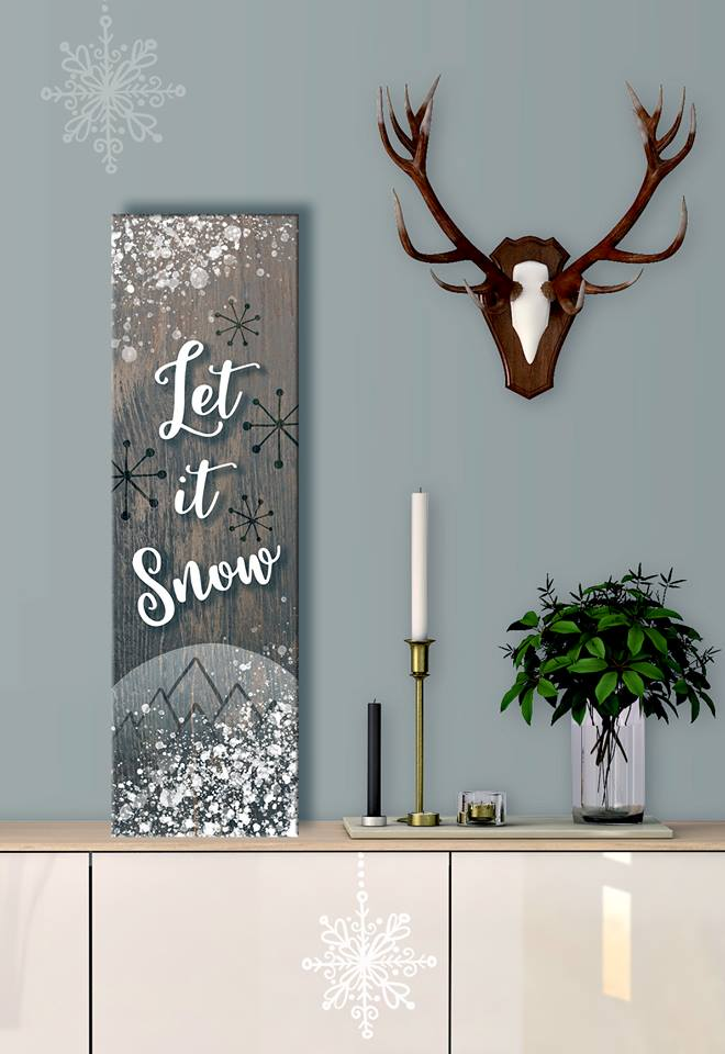 Holiday Decor Wall Art: Let It Snow (Wood Frame Ready To Hang)