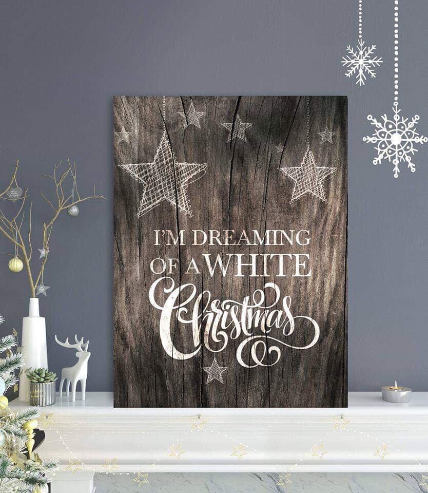 Holiday Decor Wall Art: White Christmas (Wood Frame Ready To Hang)