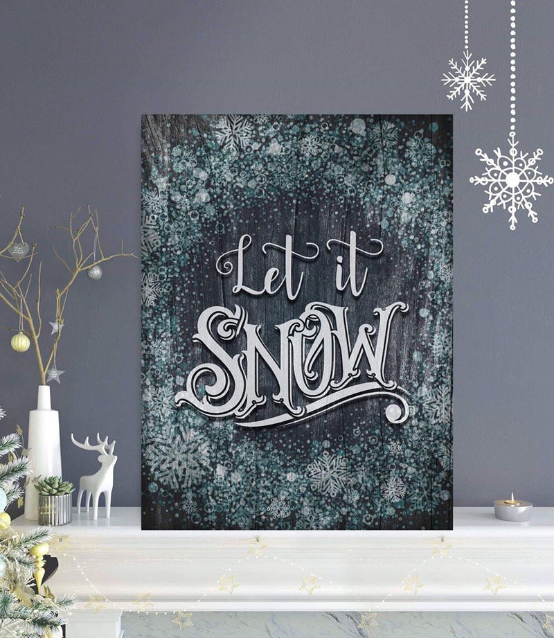 Holiday Decor Wall Art: Let It Snow V3 (Wood Frame Ready To Hang)