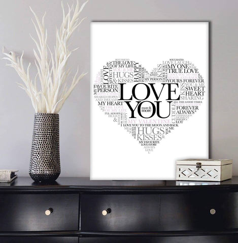 Couples Wall Art: Love You (Wood Frame Ready To Hang)