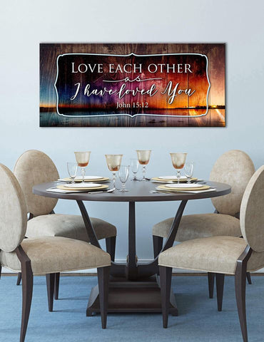 Christian Wall Art: Love Each Other As I Have Loved You (Wood Frame Ready To Hang)