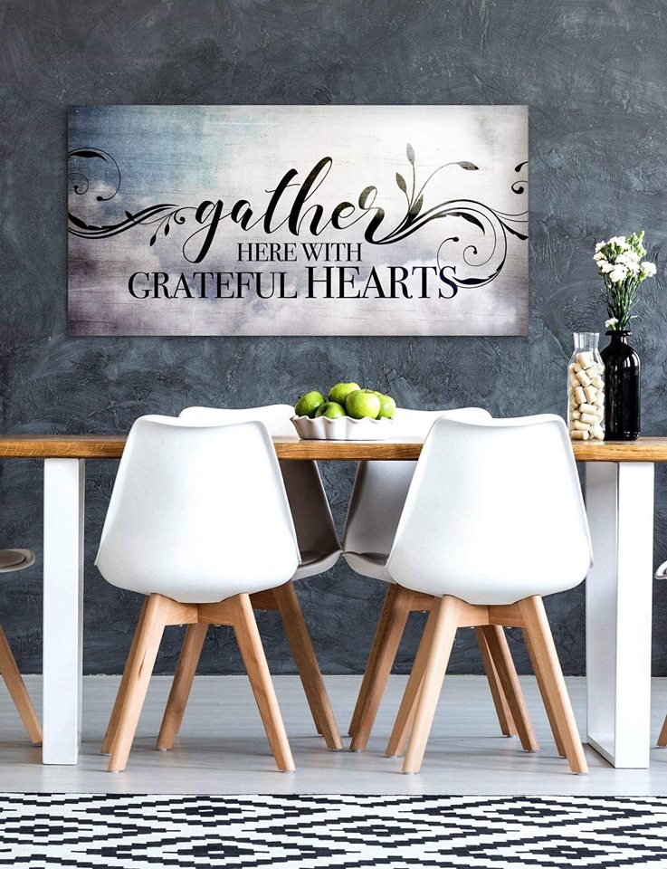 Home Wall Art: Gather Here With Grateful Hearts V2 (Wood Frame Ready To Hang)