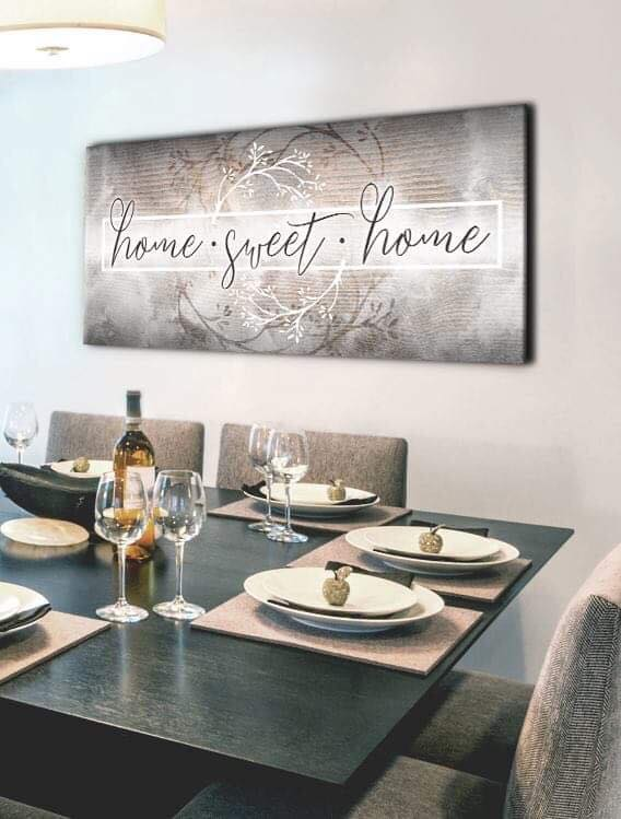 Home Decor Wall Art: Home Sweet Home V2 (Wood Frame Ready To Hang)