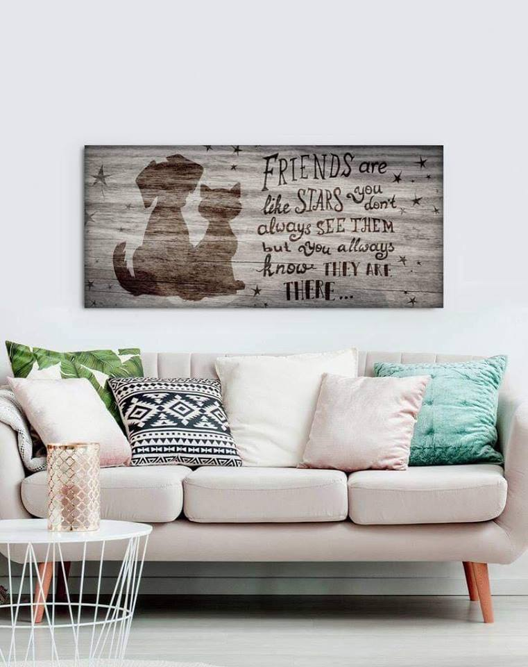 Pet Lovers Wall Art: Friends Are Like Stars (Wood Frame Ready To Hang)