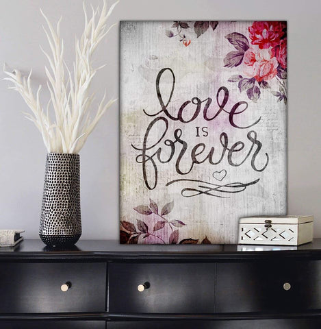 Couples Wall Art: Love Is Forever (Wood Frame Ready To Hang)