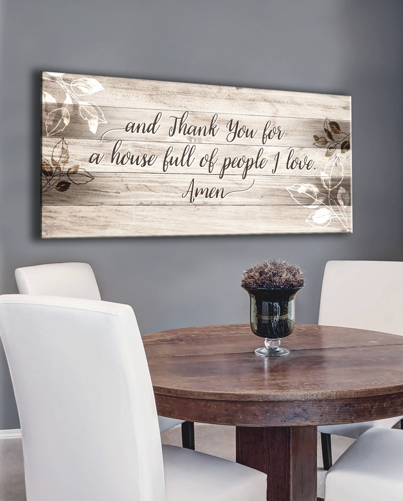 Christian Wall Art: Thank You House Full Of Love MULTIPLE Colours Available(Wood Frame Ready To Hang)