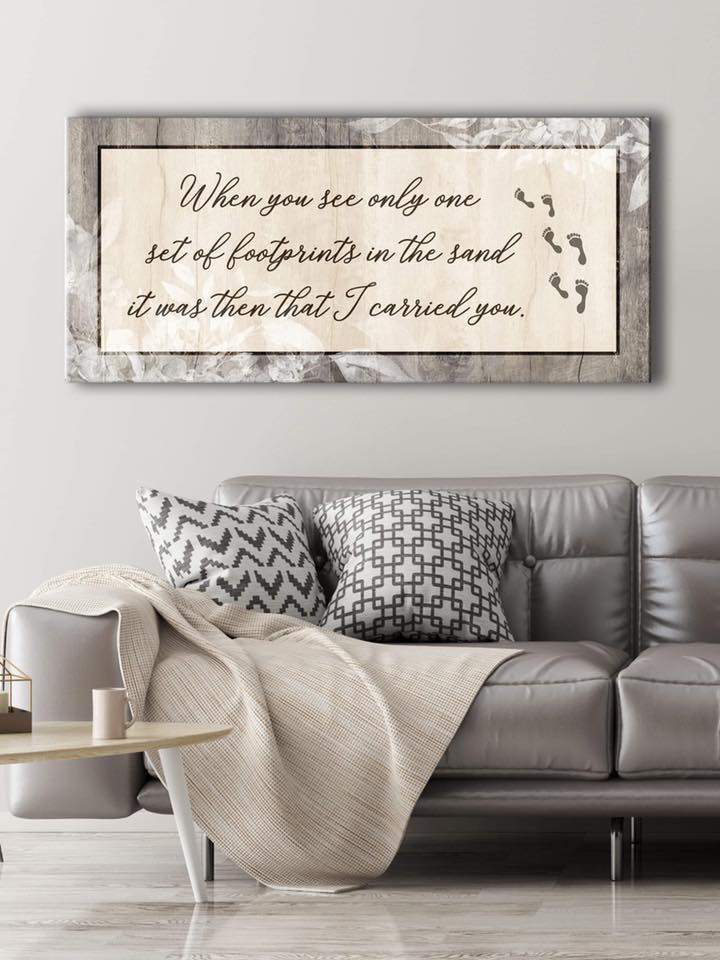 Christian Wall Art: When You See Only One Set Of Footprints (Wood Frame Ready To Hang)