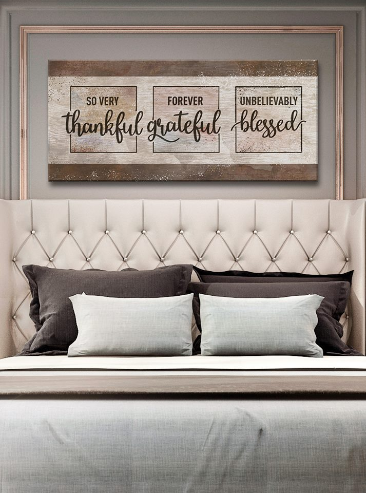 Christian Wall Art: So Very Thankful Forever Grateful Unbelievably Blessed (Wood Frame Ready To Hang)