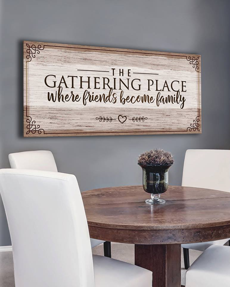 Kitchen Wall Art: The Gathering Place Where Friends (Wood Frame Ready To Hang)