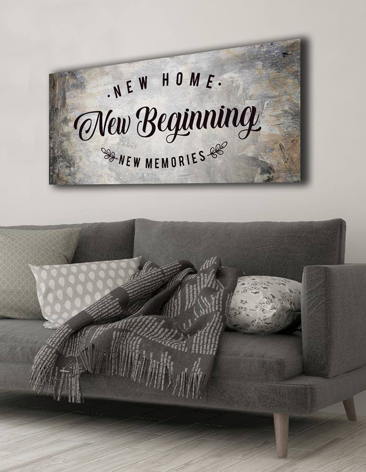 Home Decor Wall Art: New Home New Beginning (Wood Frame Ready To Hang)