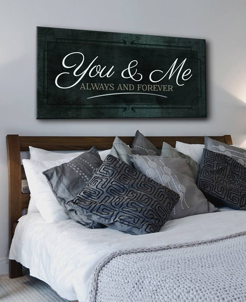 Couples Wall Art: You & Me Always and Forever (Wood Frame Ready To Hang)