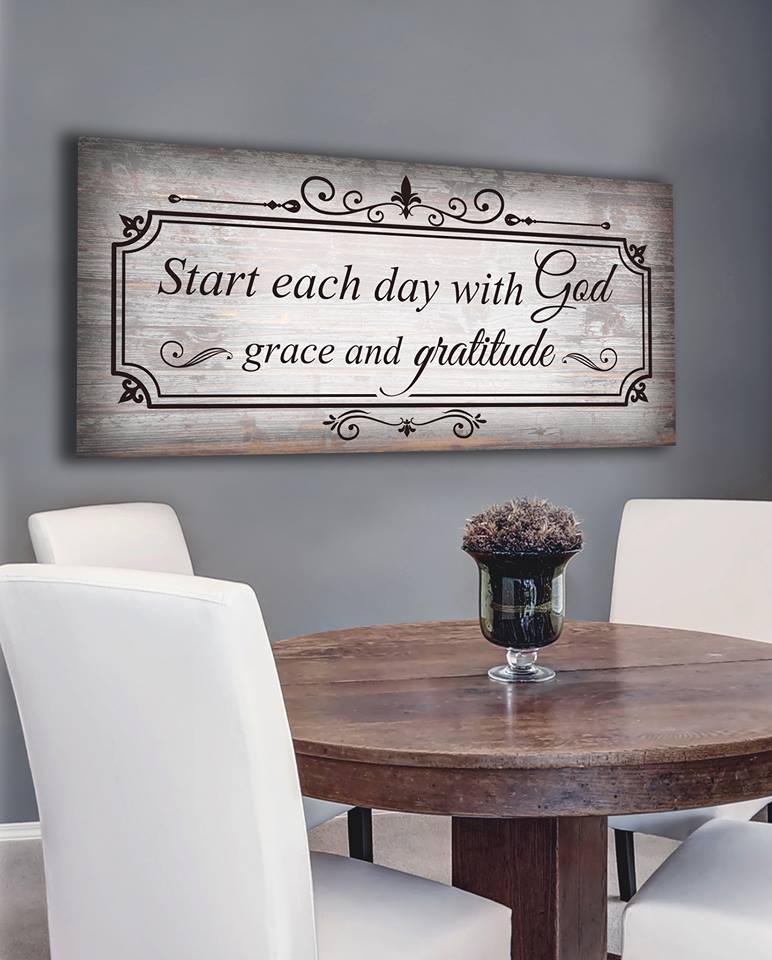 Christian Wall Art: Start Each Day With God (Wood Frame Ready To Hang)
