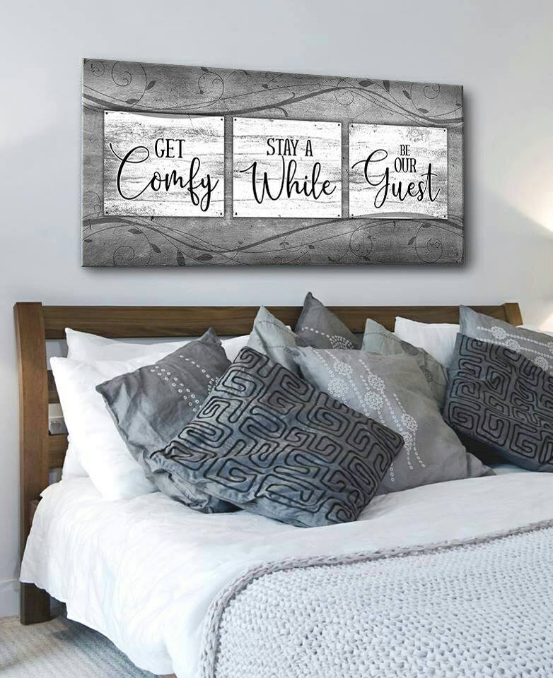 Bedroom Wall Art: Get Comfy Stay A While (Wood Frame Ready To Hang)