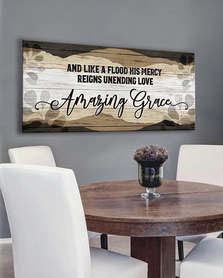 Christian Wall Art: And Like A Flood His Mercy Amazing Grace (Wood Frame Ready To Hang)