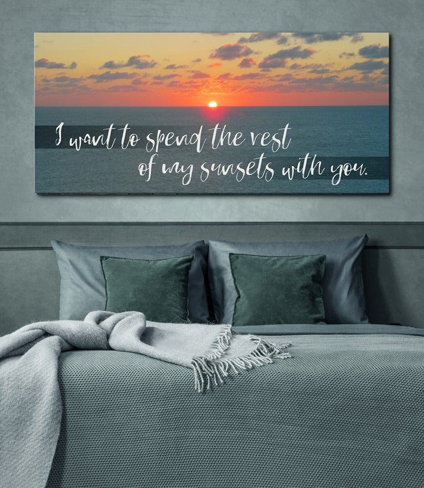 Couples Wall Art: Spend Rest Sunsets With You (Wood Frame Ready To Hang)