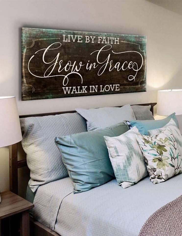 Christian Wall Art: Live By Faith (Wood Frame Ready To Hang)