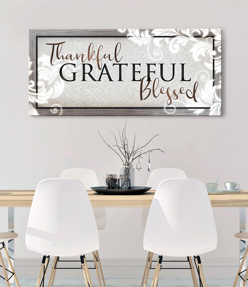 Christian Wall Art: Thankful Grateful Blessed V3 (Wood Frame Ready To Hang)