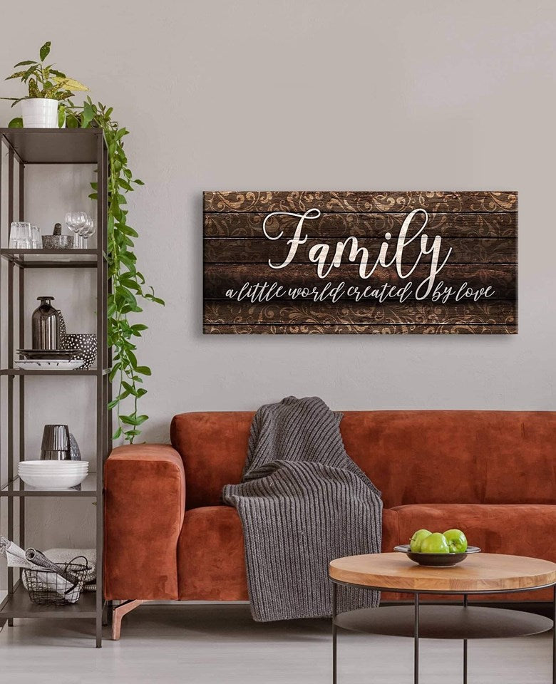 Family Wall Art: Family A Little World Created By Love (Wood Frame Ready To Hang)