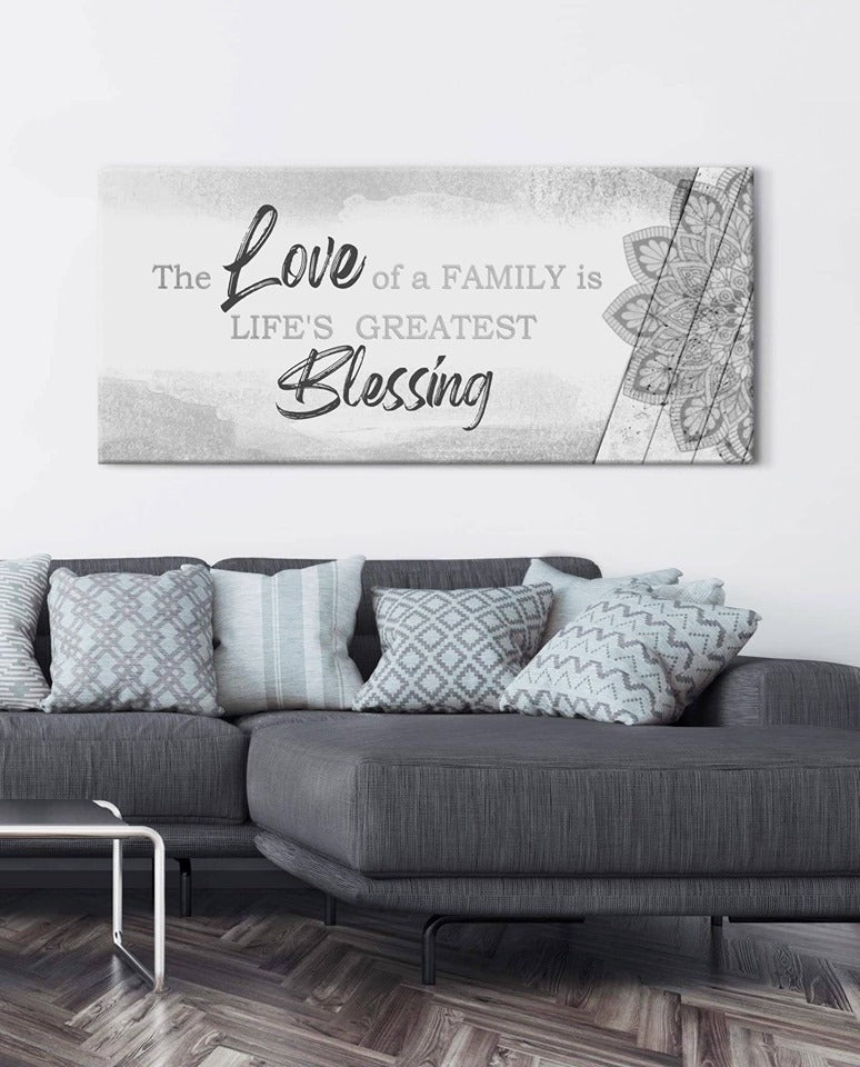 Christian Wall Art: The Love Of A Family Is Life's V4 (Wood Frame Ready To Hang)