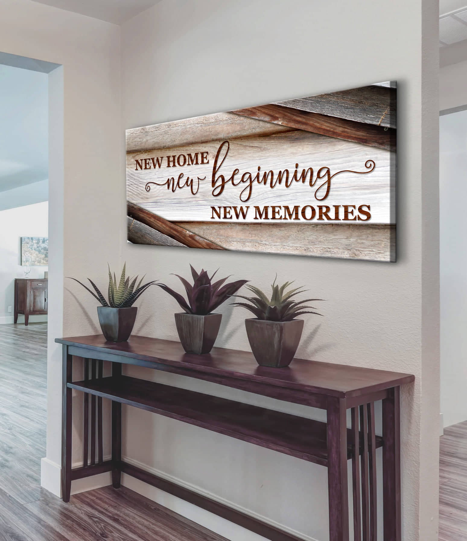 Home Wall Art: New Home New Beginning V15 (Wood Frame Ready To Hang)