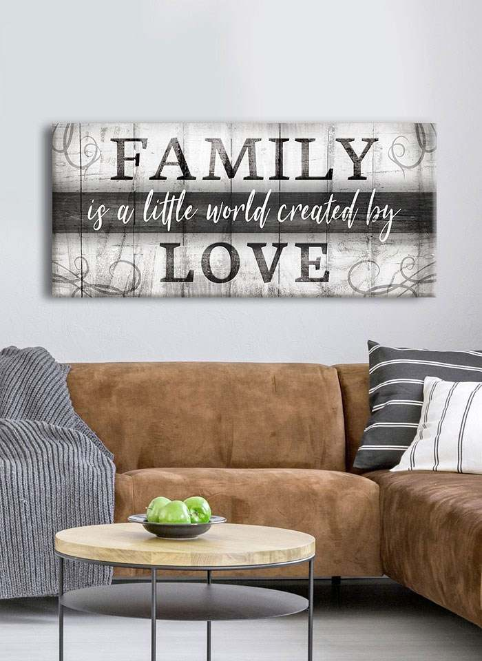 Family Wall Art: Family Is A Little World Created By Love V2 (Wood Frame Ready To Hang)