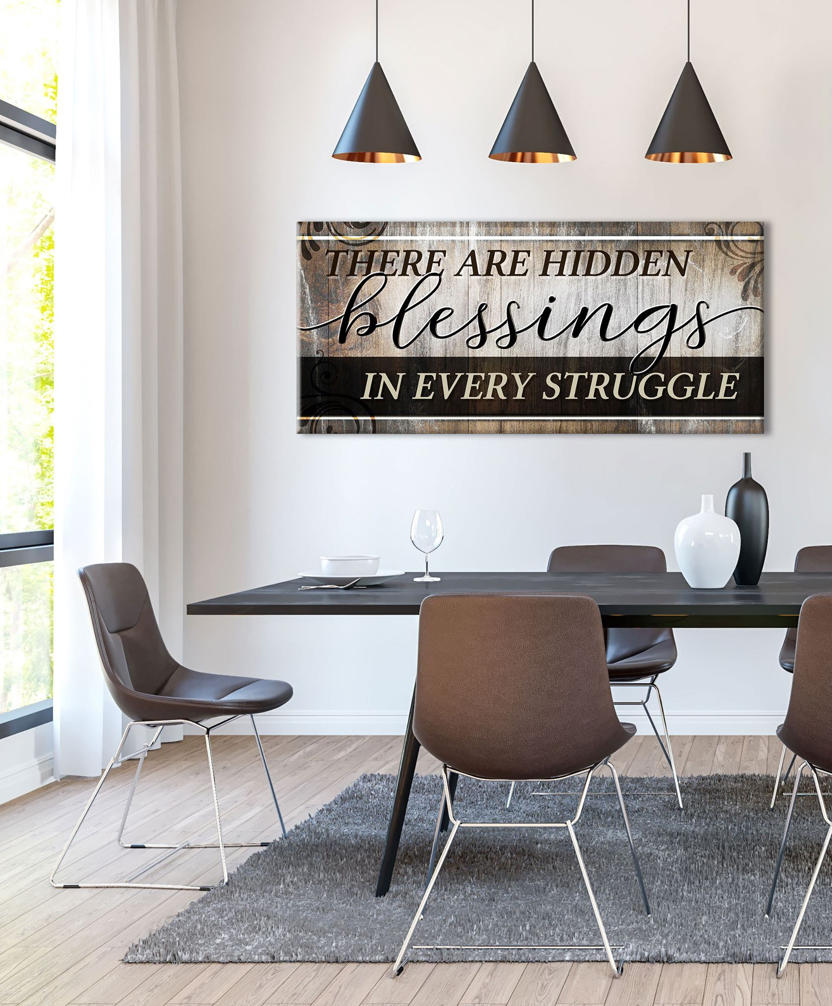 Christian Wall Art: There are Hidden Blessings in every struggle  (Wood Frame Ready To Hang)