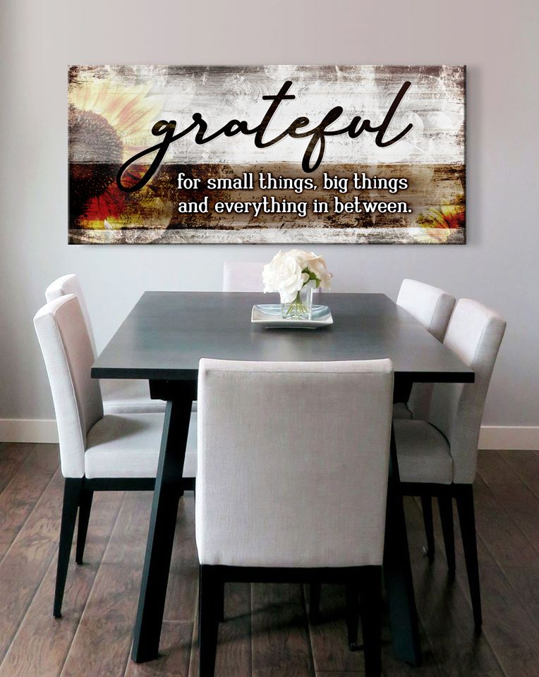 Christian Wall Art: Grateful For Small Things V2 (Wood Frame Ready To Hang)