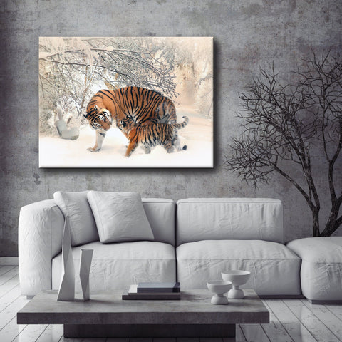 Animal Wall Art: Tigers (Wood Frame Ready To Hang)