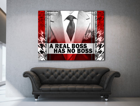 Business Wall Art:  A Real Boss Business Wall Art (Wood Frame Ready To Hang)