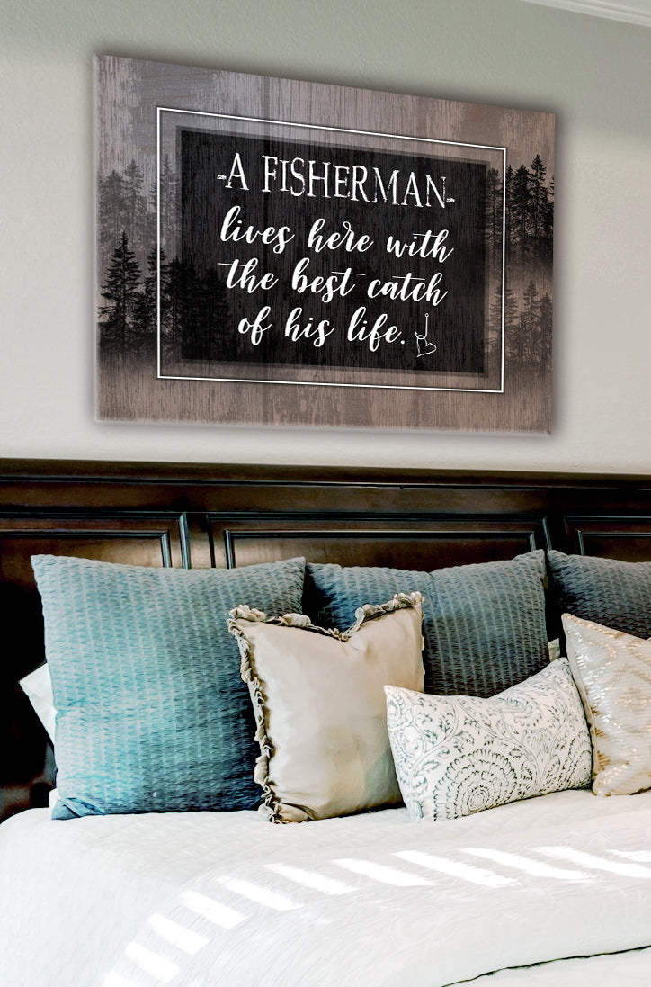 Fisherman Art: A fisherman lives here (Wood Frame Ready To Hang)