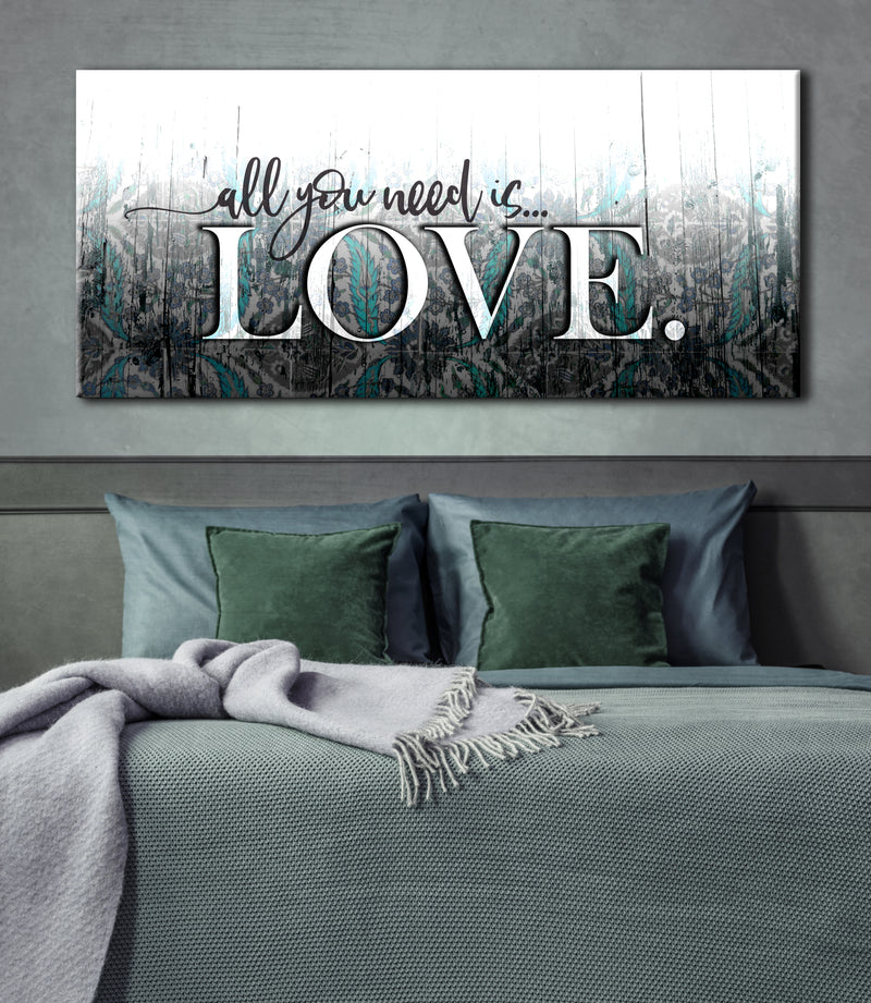 Bedroom Wall Art: All You Need Is Love (Wood Frame Ready To Hang)