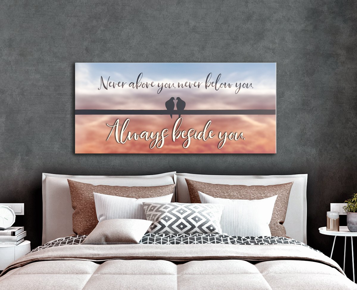 Couples Wall Art: Always Beside You  (Wood Frame Ready To Hang)