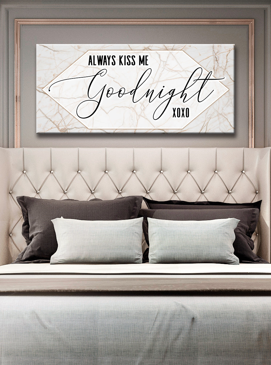 Couples Wall Art: Always Kiss Me Goodnight V2 (Wood Frame Ready To Hang)