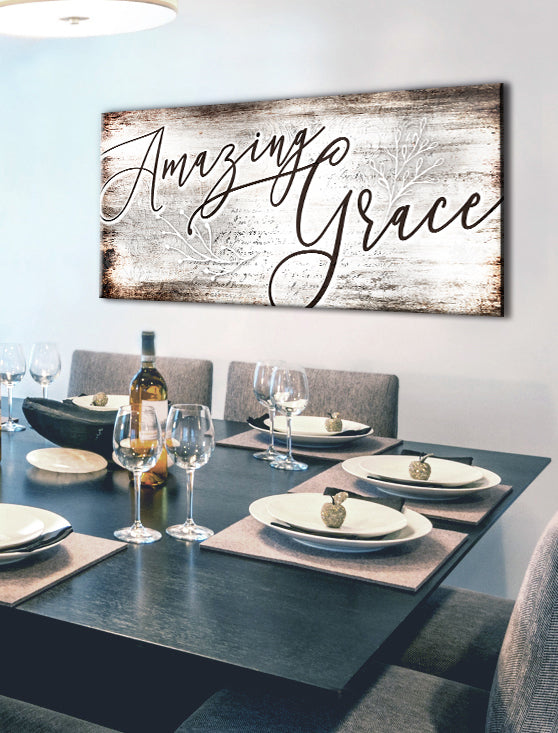 Christian Wall Art: Amazing Grace (Wood Frame Ready To Hang)